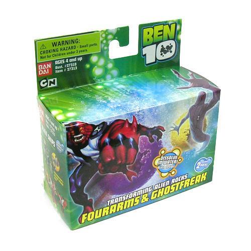 Ben 10 Transforming Alien Rocks Four Arms & Ghostfreak 1-Inch Mini Figure Set