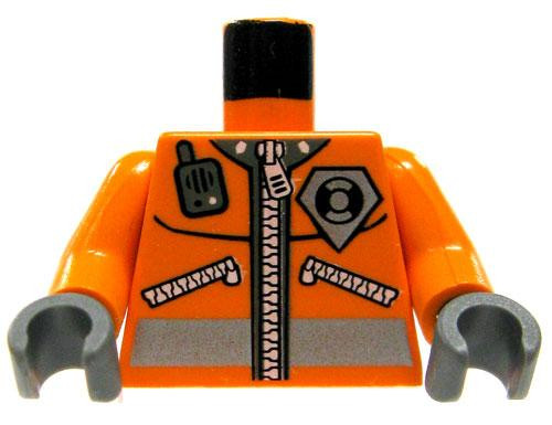 LEGO Minifigure Parts Orange Safety Jacket with Zipper, Radio & Badge Loose Torso [Loose]