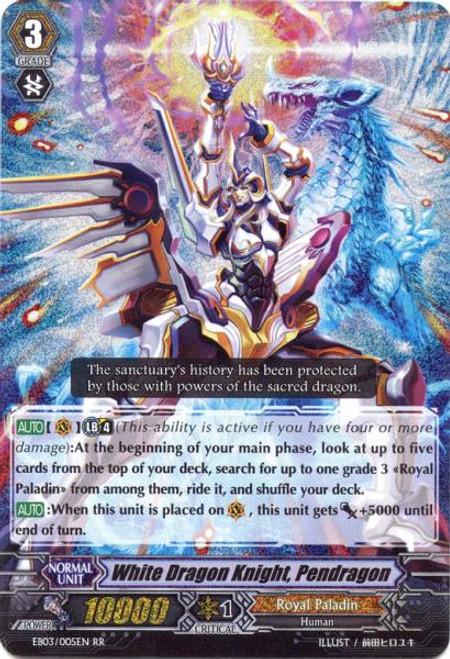 Cardfight Vanguard Cavalry of Black Steel RR Rare White Dragon Knight, Pendragon EB03-005