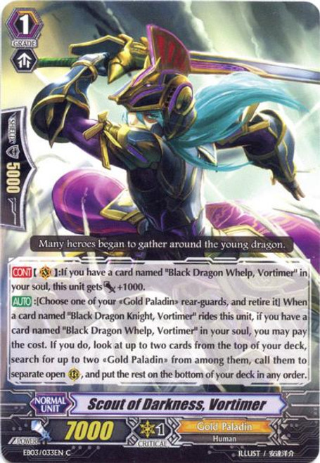 Cardfight Vanguard Cavalry of Black Steel Common Scout of Darkness, Vortimer EB03-033