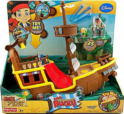Fisher Price Disney Jake and the Never Land Pirates Musical Pirate Ship Bucky Playset