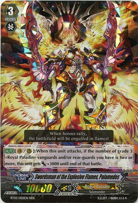Cardfight Vanguard Demonic Lord Invasion Triple Rare RRR Swordsman of the Explosive Flames, Palamedes BT03-005