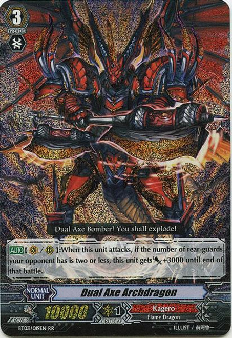 Cardfight Vanguard Demonic Lord Invasion Double Rare RR SP Dual Axe Archdragon BT03-019