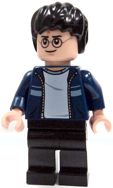 LEGO Loose Harry Potter Minifigure [Dark Blue Open Jacket with Stripe & Black Pants Loose]