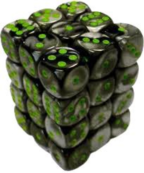 Chessex 6-Sided d6 Gemini 12mm Dice Pack #26845 [Black-Gray & Green]