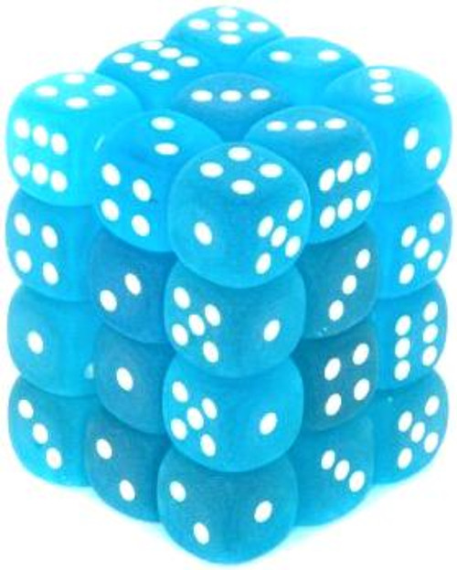 Chessex 6-Sided d6 Frosted 12mm Dice Pack #27816 [Carribean Blue & White]