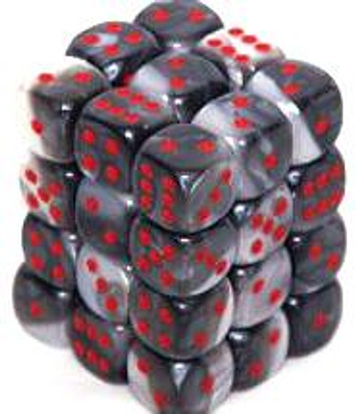 Chessex 6-Sided d6 Gemini 12mm Dice Pack #26821 [Black-White & Red]