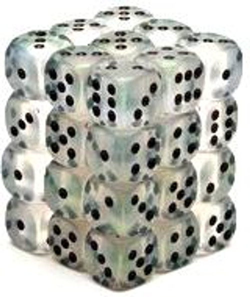Chessex 6-Sided d6 Borealis 12mm Dice Pack #27800 [Clear & Black]