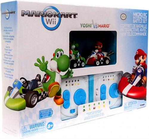 Super Mario Mario Kart Wii Micro PC Interactive Battle Set Yoshi vs Mario 2-Inch R/C Vehicles