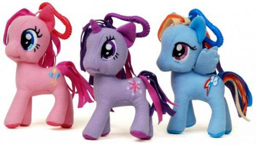 Friendship is Magic 3 Inch My Little Pony Set of 3 Plush Clip On