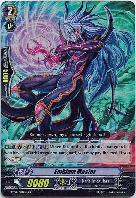 Cardfight Vanguard Rampage of the Beast King Double Rare RR Emblem Master BT07-018