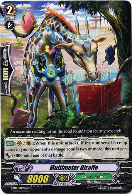 Cardfight Vanguard Rampage of the Beast King Common Multimeter Giraffe BT07-049