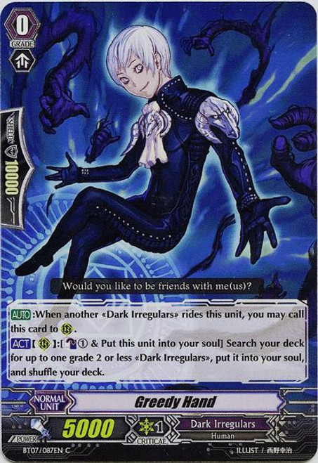 Cardfight Vanguard Rampage of the Beast King Common Greedy Hand BT07-087