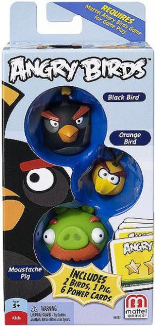 Mattel Angry Birds Game Black Bird, Orange Bird & Moustache Pig Mini Figure 3-Pack