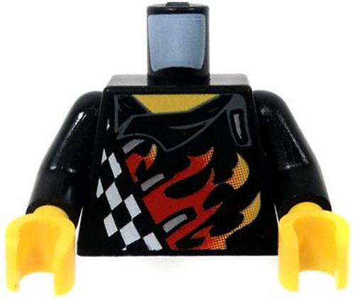 LEGO Agents Minifigure Parts Black Torso Checkered Jacket with Flame Job & Flaming Skull on the Back Loose Torso [Loose]