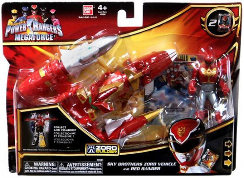 Power Rangers Megaforce Zord Builder Sky Brothers Zord Vehicle and Red Ranger Action Figure Set