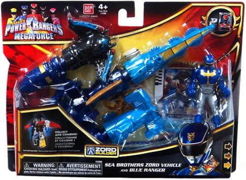 Power Rangers Megaforce Zord Builder Sea Brothers Zord Vehicle and Blue Ranger Action Figure Set