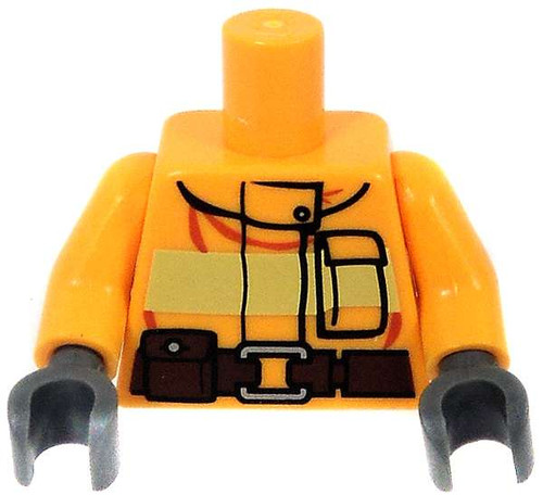 LEGO City Minifigure Parts Light Orange Coat with Safety Stripe & Utility Belt Loose Torso [Loose]