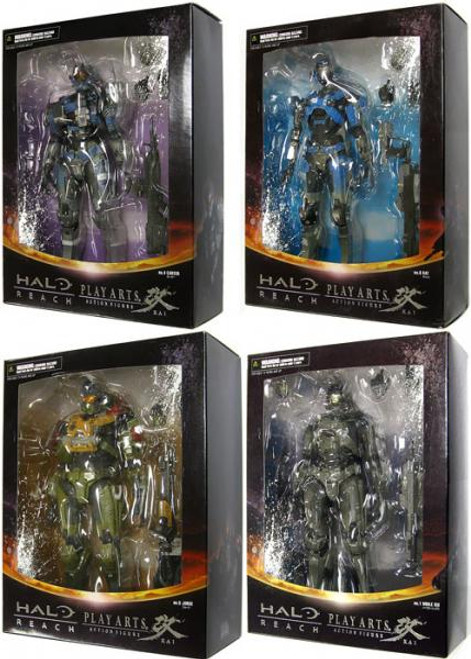 Halo Reach Play Arts Kai Noble Six Set of 4 Action Figures