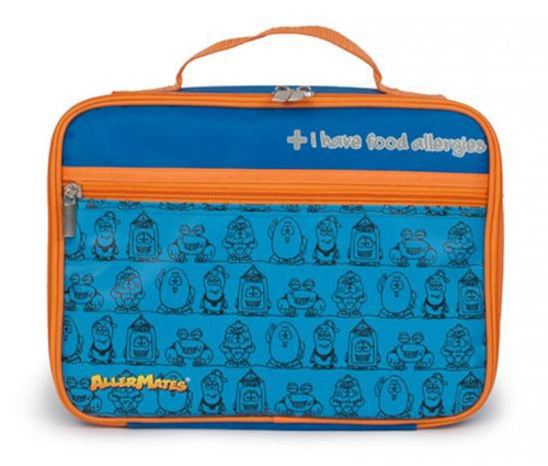 AllerMates I Have Food Allergies Lunch Bag [Blue with Orange Trim]