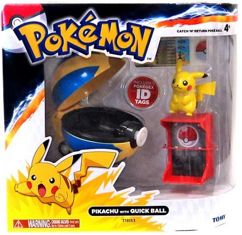 Pokemon TOMY Catch n Return Pokeball Pikachu with Quick Ball Figure Set