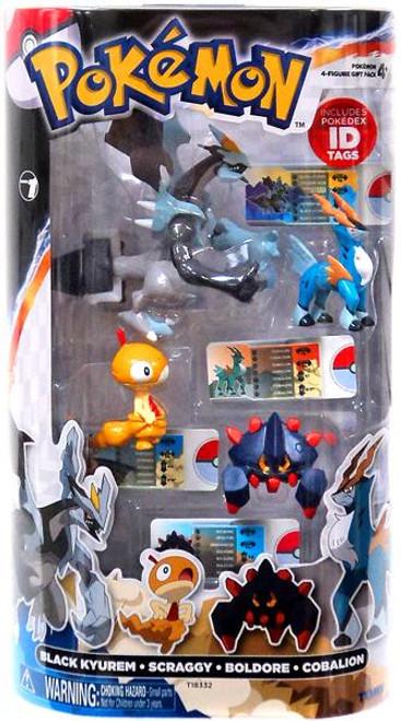Pokemon Black & White Basic Black Kyurem, Scraggy, Boldore & Cobalion Figure 4-Pack