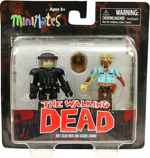 The Walking Dead Minimates Series 3 Riot Gear Rick & Guard Zombie Minifigure 2-Pack