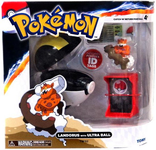 Pokemon TOMY Catch n Return Pokeball Landorus with Ultra Ball Figure Set
