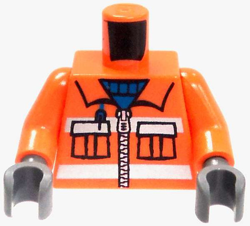 LEGO Minifigure Parts Orange Safety Jacket with Blue Turtle Neck Loose Torso [Loose]