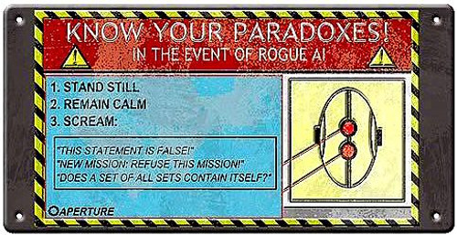 Portal 2 Know Your Paradoxes Tin Wall Sign