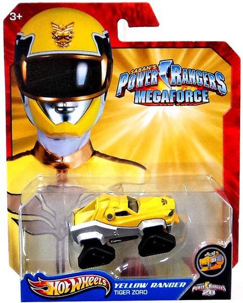Power Rangers Megaforce Hot Wheels Yellow Ranger Tiger Zord Diecast Car