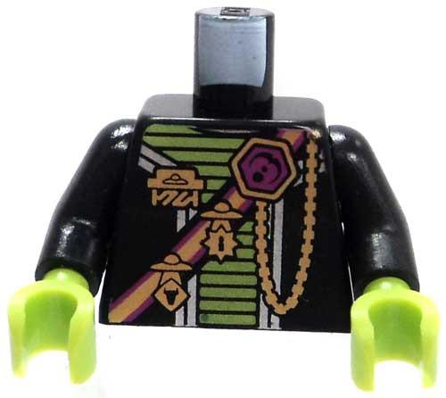 LEGO Alien Conquest Minifigure Parts Black Torso with Green Trim, Gold Medals & Sash Loose Torso [Loose]