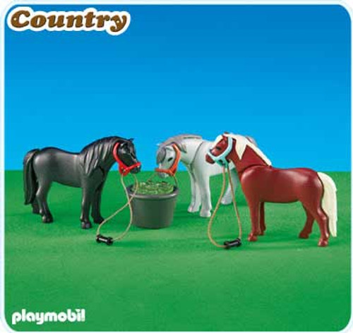 Playmobil Country 3 Ponies with Feeding Bucket Set #6256