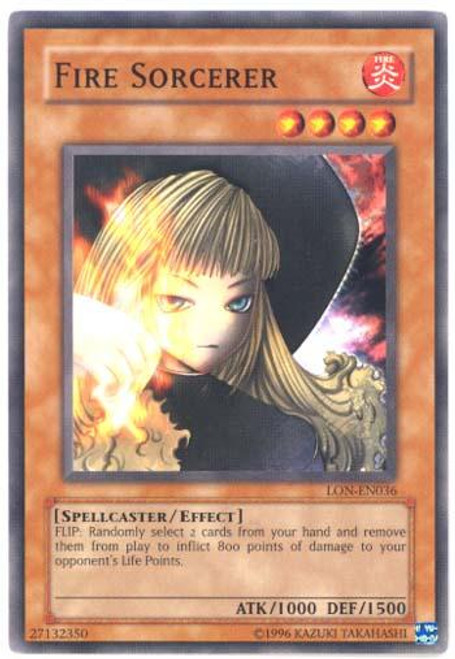 YuGiOh Labyrinth of Nightmare Common Fire Sorcerer LON-036