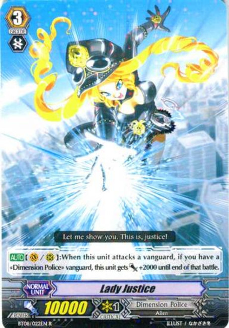 Cardfight Vanguard Blue Storm Armada Rare Lady Justice BT08-022