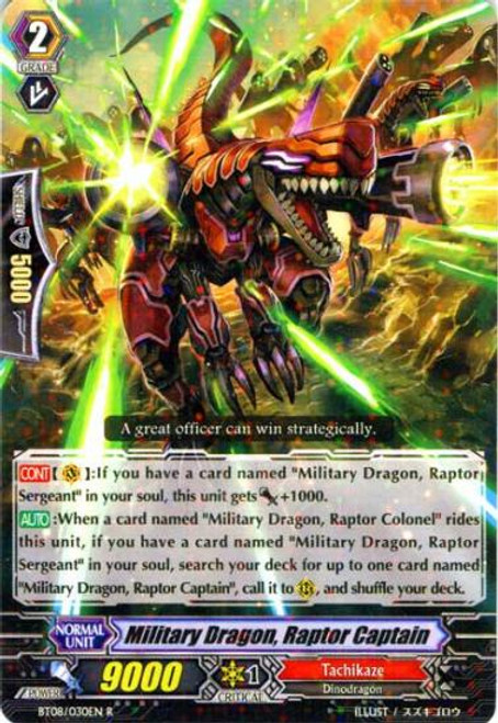 Cardfight Vanguard Blue Storm Armada Rare Military Dragon, Raptor Captain BT08-030