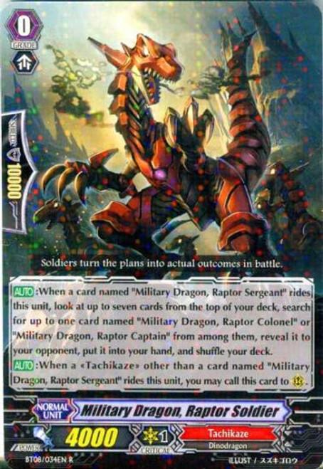 Cardfight Vanguard Blue Storm Armada Rare Military Dragon, Raptor Soldier BT08-034
