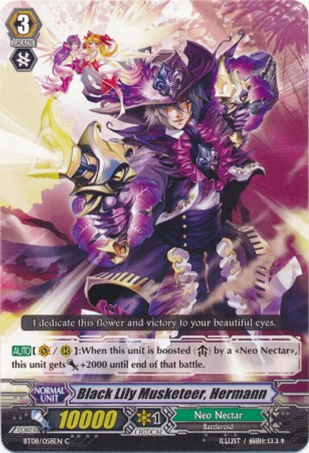 Cardfight Vanguard Blue Storm Armada Common Black Lily Musketeer, Hermann BT08-058