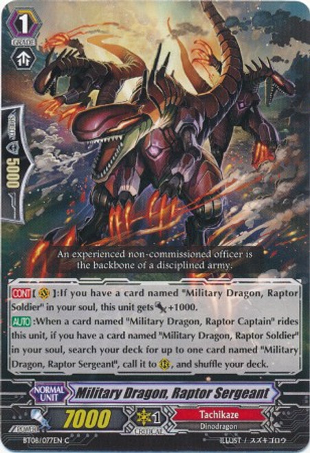 Cardfight Vanguard Blue Storm Armada Common Military Dragon, Raptor Sergeant BT08-077