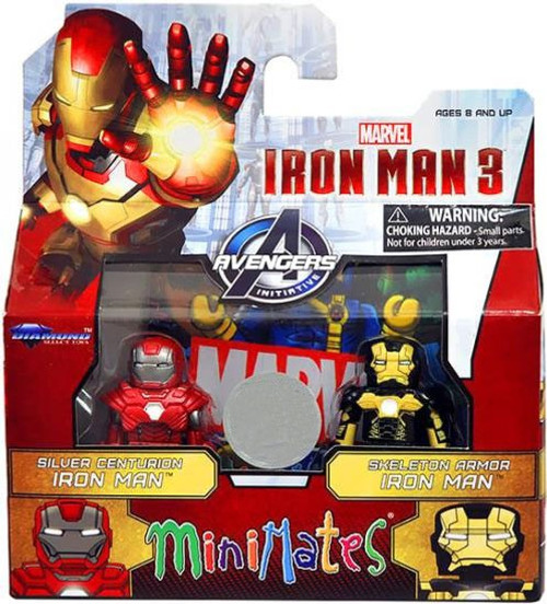 MiniMate Iron Man 3 Silver Centurion Iron Man & Skeleton Armor Iron Man Exclusive Minifigure 2-Pack