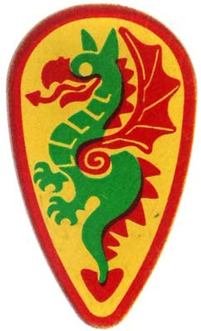 LEGO Castle Shields Large Green & Red Dragon on Yellow Shield [Loose]