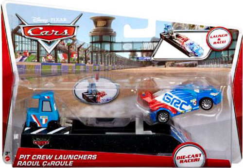 Disney Cars Pit Crew Launchers Raoul CaRoule & Pitty Diecast Car [With Launcher]