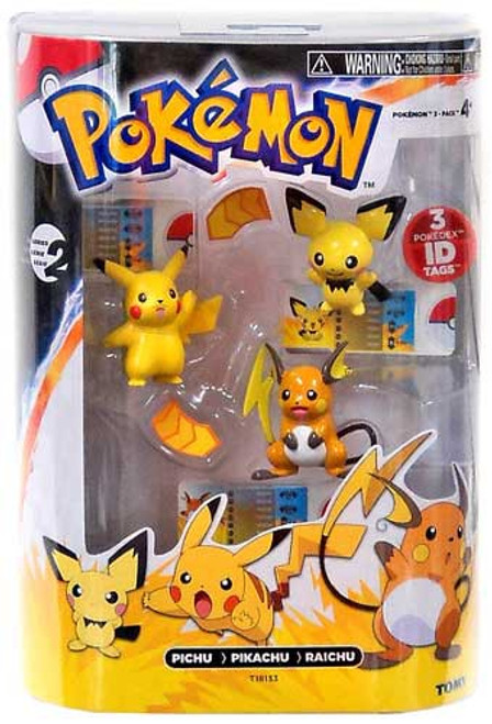 Pokemon Black & White Evolution Pichu, Pikachu & Raichu Figure 3-Pack