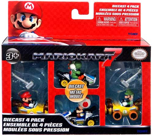 Super Mario Mario Kart 7 Mario Bee Kart, Luigi Bee Kart, Yoshi & Toad Diecast Vehicles