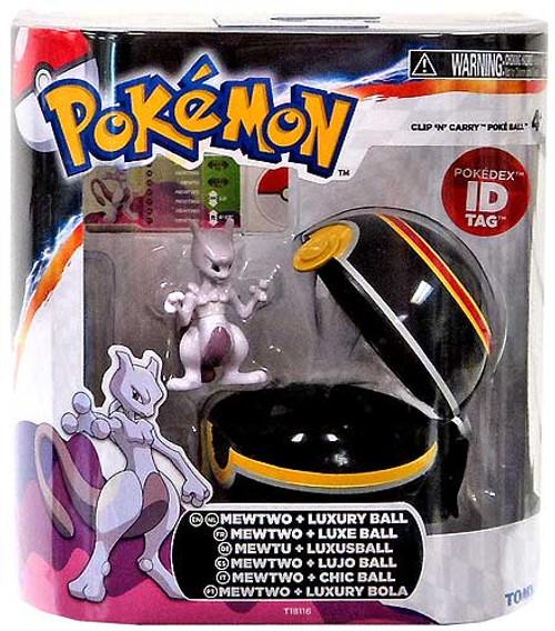 Pokemon Clip n Carry Pokeball Mewtwo & Luxury Ball Figure Set