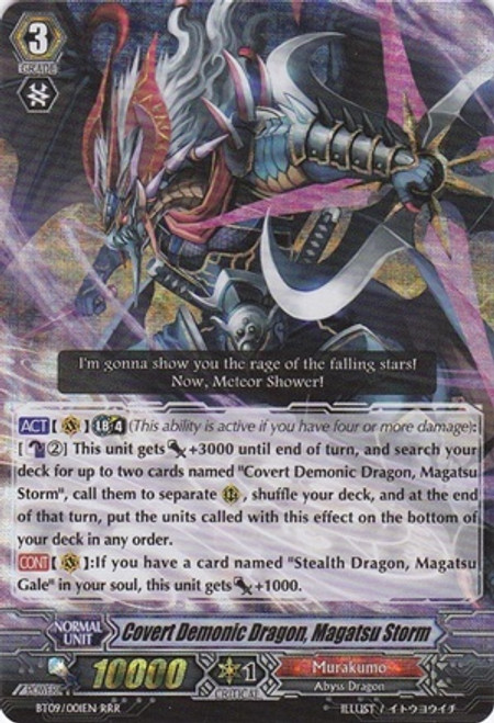 Cardfight Vanguard Clash of the Knights & Dragons RRR Rare Covert Demonic Dragon, Magatsu Storm
