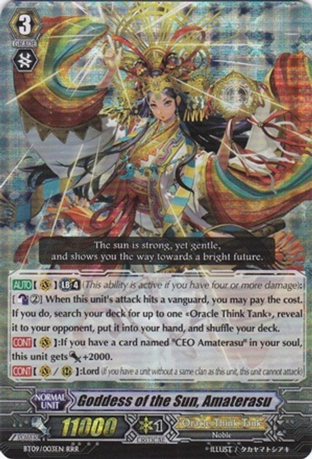 Cardfight Vanguard Clash of the Knights & Dragons RRR Rare Goddess of the Sun, Amaterasu BT09/003