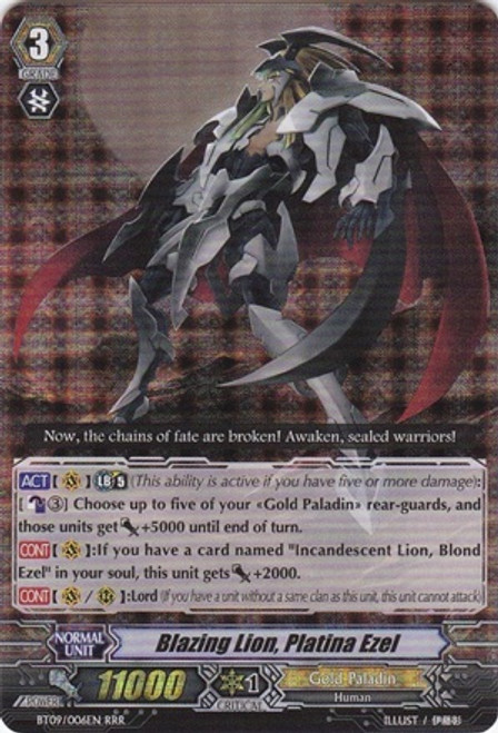 Cardfight Vanguard Clash of the Knights & Dragons RRR Rare Blazing Lion, Platina Ezel BT09/006