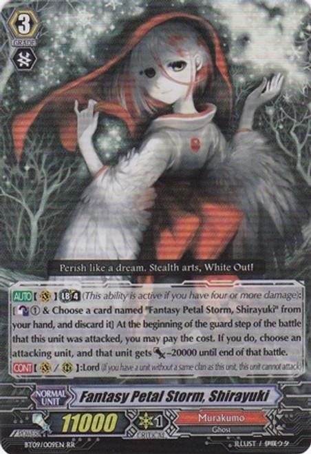Cardfight Vanguard Clash of the Knights & Dragons RR Rare Fantasy Petal Storm, Shirayuki BT09/009