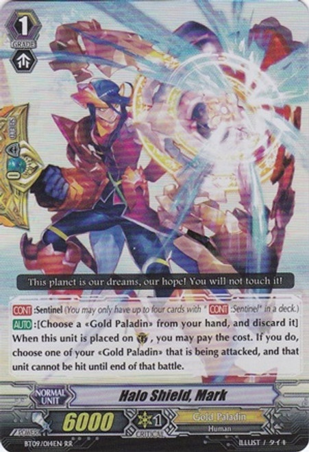 Cardfight Vanguard Clash of the Knights & Dragons RR Rare Halo Shield, Mark BT09/014